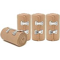 COM-FOUR® 4x Elastische Bandage, Fixierbinde mit 16 Befestigungsklammer für Sport und Freizeit (04 Stück - Bandage... preisvergleich bei billige-tabletten.eu