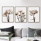ZSHSCL Leinwanddruck Malerei 3 Stück Moderne Transparente Blume Leinwand Malerei Kunstdruck Poster Bild Home Wanddekoration Einfache Wanddekor, 60X80 cm
