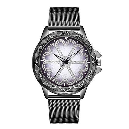 Berrose Damen Uhren Damen-Armbanduhr Armband Leder Quarz Analog Luxus Bling Strass Keramik Kristall QuarzuhrenKleid Uhr