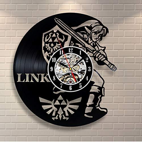 Syhua Nouveau Art CD Disque Vinyle Horloge Murale T Légende De Zelda Montre À La Main Noir Horloge Murale Horloge Murale Décor Home Design