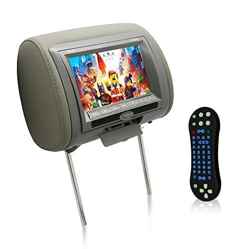 Pyle PL73DGR Ecran d'Appui-tête réglable LCD 7'(18 cm)/Lecteur DVD/Cartes SD/MMC/Port USB/Télécommande intégrés Gris