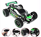 Enlarge toy image: CR 2.4 GHz 1:20 Remote Control Racing Buggy Car Crazy Speed RC Off Road Truck with 4 Wheel Shock Absorbers Powerful Battery Aggressive Drifting/Stunts Car RTR(Green)