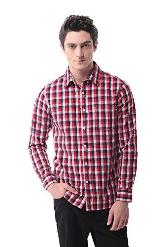 Pau1hami1ton p-13a camicia plaid manica lunga uomo casual slim fit business formal shirt(xl,3)