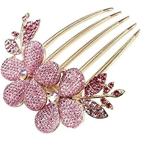 LTWL Adatti a donne monili del fiore del modello della clip di capelli a cristallo strass, Rosa