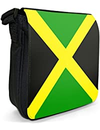Jamaica Flag Small Black Canvas Shoulder Bag / Handbag