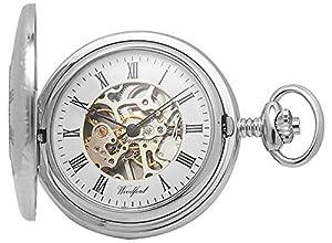 Cromo plateado plata Esqueleto Medio cazador de bolsillo mecánico Relojes de Woodford