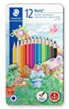 Staedtler Noris club 145 crayon de couleurs de forme hexagonale, Boite métal de 12 crayons assortis, 145 AM12