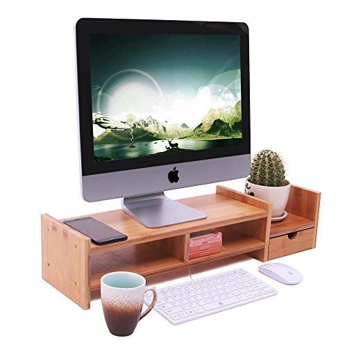yumu bambus monitorstnder bildschirmstnder monitorerhhung bildschirmstnder schreibtischaufsatz bildschirmerhhung desktop organizer - Computertisch Fr Imac 27