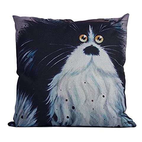DODOING Kissenbezüge Katze Gedruckt Home Decor Hauptdekoration Kissenbezug Baumwolle Leinen