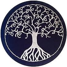 Maylow–Yoga avec cœur ® Coussin de méditation–Yoga Coussin avec broderie Arbre de Vie 33x 15cm–Bio Vannure d'Épeautre Premium–Housse, coutil et Vannure d'Épeautre sont lavable