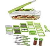 #9: HKC HOUSE 20 in 1 Fruit & Vegetable Graters Slicer juicer Chipser, Dicer, Cutter Chopper Upgraded Deluxe Model With Unbreakable Poly Carbonate body And Heavy Stainless Steel Blades(first time in India-all in one functional and upgraded model of multi choppers) with 2 unbreakable container