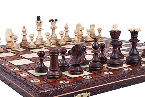 KADAX-Schachspiel-aus-hochwertigem-Holz-42-x-42-cm-klappbar-Schach-fr-Kinder-Erwachsene-Haus-Reise-tragbares-Schachbrett-mit-Figuren-Schachkassette-elegant
