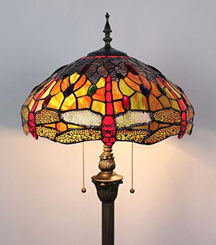 16 Zoll Libelle Perle Glasmalerei kreative Wohnzimmer Schlafzimmer Nachttisch klassische Luxus atmosphärische Stehlampe - gelb
