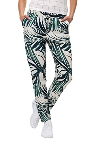 Hailys Damen Sommerhose Freizeithose Strandhose Print (L, Beige/Leaves)
