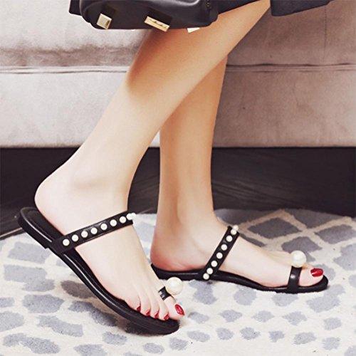Perlen-Diamant Klippzehe flache Hausschuhe Badesandale nackte Farben Schuhe Black