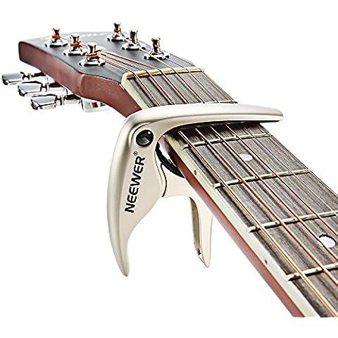 Neewer® Capotasto NW-19 Facile da Usare per Chitarra Acustica o Elettrica a 6 Corde, Basso, Ukulele, Banjo e Mandolino per Cambiamento di Tono Veloce, in Lega di Zinco Resistente e Robusta -- Argento
