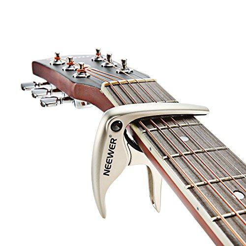 Imagen de neewer® fácil de usar sintonizador de cambio rápido nw 19  ceja para  acústico o eléctrico de 6 cuerdas , bajo, ukulele, banjo y mandolina, hecho de durable y sólida aleación de kirsite  plata