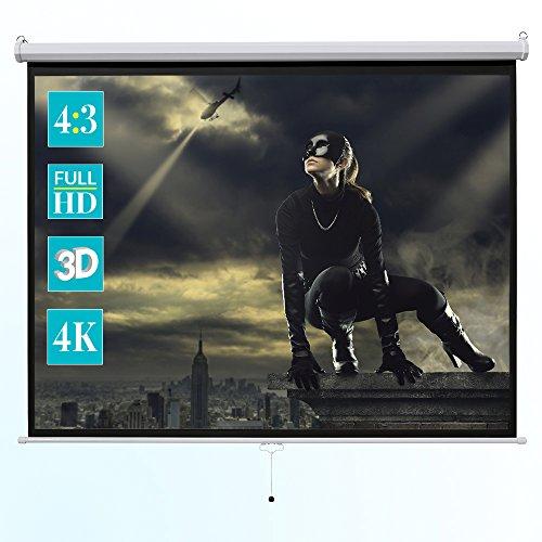 ivolum Rolloleinwand 240 x 240cm Nutzfläche | Format 1:1 | Als Heimkino-Leinwand oder Business-Leinwand einsetzbar | einfach Montage und Bedienung | Beamer-Leinwand in verschiedenen Größen erhältlich