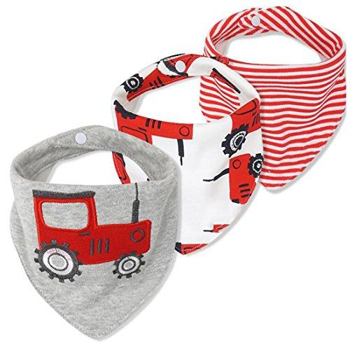 CuteOn Baby Drool Lätzchen, Unisex 3er-Pack Absorbierender Baumwolle, Dreieck Bib mit Druckknöpfen for Boys & Girls - Asorted