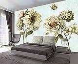 BHXINGMU Wandbild Individuelle Fototapeten Vintage Pflanzen Pfingstrosen Blumen Kunsttapeten Großes Schlafzimmer Wanddekoration 270Cm(H)×370Cm(W)