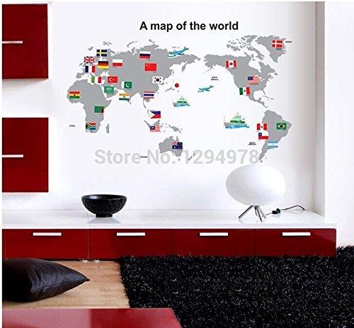 Sypure (TM) 2013 del nuovo Wall Sticker mappa del mondo per l'apprendimento di studio parole / Arte sayings bandiera TC2100 della parete del vinile decalcomanie della Nazionale