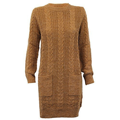 Brave Soul Pull Femmes Long Câble Tricot Haut Robe Pull Hiver Neuf - Tabac - 372rooster, S