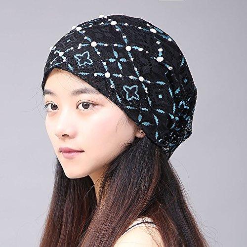 ?lteren kit Kopf Baotou Haufen cap weibliche Hut Blumen Kit,Leiter hat mit zuf?lligen ges?umt sind,Code rhombus Kissen Leaf Schwarz und Blau. (Cowboy-hüte Für Kinder In Bulk)
