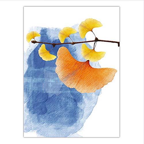 Djkaa Dekoration Wandkunst Poster Bild Dekoration Schlafzimmer Leinwand Drucke Spray Malerei Bild Ginkgo Mit Rahmen