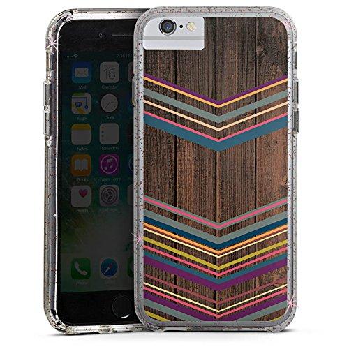 Apple iPhone 6s Bumper Hülle Bumper Case Glitzer Hülle Holz Wood Farben Bumper Case Glitzer rose gold
