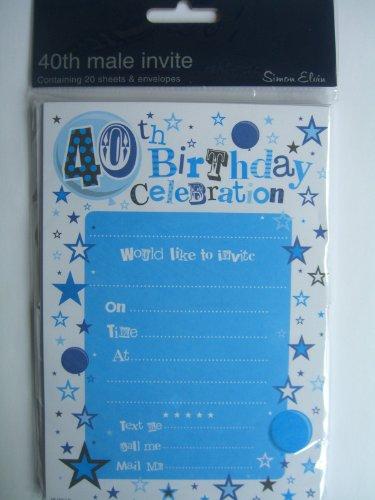 Cartons d'invitation pour fête d'anniversaire 40 ans Bleu/garçon/2013 Lot de 20 enveloppes Simon Elvin}
