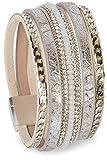 styleBREAKER weiches Armband mit Strasssteinen, Vintage Print und Kette, Magnetverschluss, Damen 05040020, Farbe:Antik-Silber