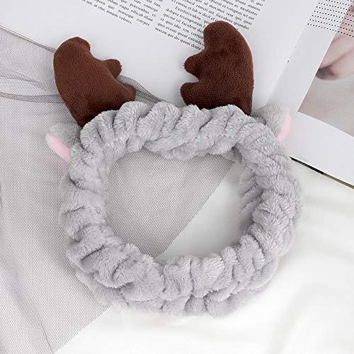 Waschen Make-up Haarband Herbst und Winter Haarband Cute Christmas Geweih Stirnband Wash Make-up Großhandel 3 Stück, Fd Grau