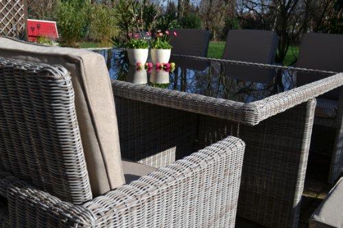 bomey Polyrattan Rattan Geflecht Garten Sitzgruppe Toscana XL in sand-grau Natur (Rundgeflecht 3mm) (Tisch 6 Sessel 3 Hocker) für 6 bis 9 Personen Bild 4*