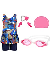 0b67a562f3 Wetex Premium Girls Swimming Kit with Swimming Costume Swimming Goggles  Silicone Swimming Cap 1 Nose Clip