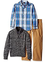 Nautica Boys' Three Piece Set with Woven Shirt Zip Sweater and Flat Twill Pant