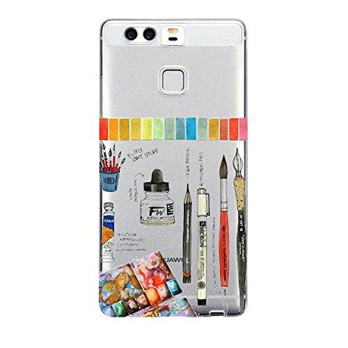Huawei P9 Hülle Silikon Ultra dünn Transparent Pacyer ® Handyhülle Huawei P9 Schutzhülle Silikon Rückschale TPU für HUAWEI P9 Case Cover Rot Blume Mädchen Macaron (6)