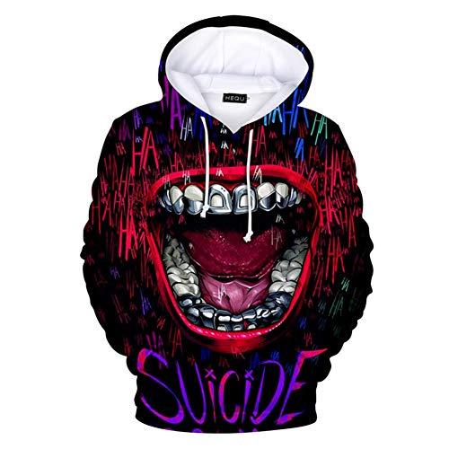 DaricowathX Herren Suicide Squad Crazy In Love Joker Clown Hoodies Lässig Movie Fans Kapuzenpullover Sweatshirt(M Mehrfarbig04) Squad Hoodie Sweatshirts