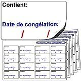 256x AUTOCOLLANTS CONGELABLES. « Contient: Date de congélation: » Compatibles avec tout stylo ou stylo à bille standard.
