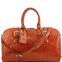 Tuscany Leather - TL Voyager - Leather travel bag with front straps - Large size Honey - TL141248/3