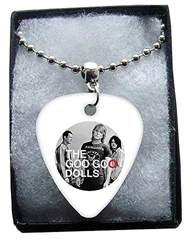 Goo Goo Dolls Circle Logo Metal Guitar Pick Necklace Ball Chain Collier Médiator