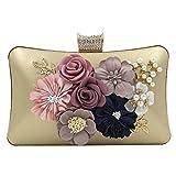 Onfashion Damen Frauen Gold Blume Party Clutches Abend Handtasche Mädchen Golden Taschen Brieftasche