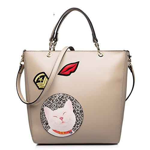 GSHGA Nouveau Messenger Bag Femme Chat Imprimer Sac à Main Top-Handle Sacs Totes,Apricot