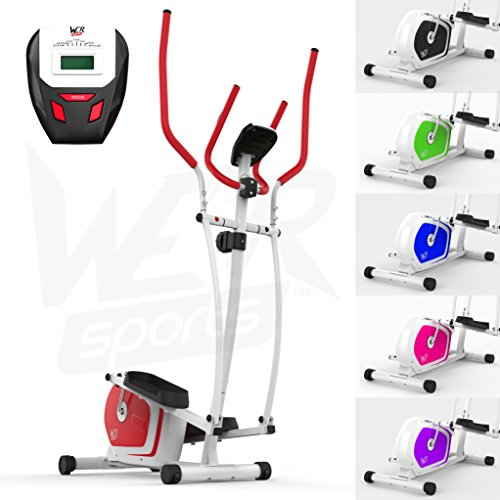 We R Sports Elliptisch ?berqueren Trainer & ?bung Fahrrad 2-in-1 Zuhause Cardio- Training (Red)