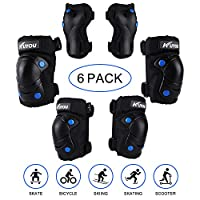 Kuyou Kids Protective Gear 6 Packs Kids Knee Pads Elbow Pads Wrist Guards for Skateboarding Inline Roller Skating Cycling Biking BMX Ski Scooter