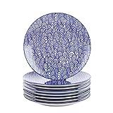 vancasso, série TAKAKI, 8pcs Assiettes Plates Rond Porcelaine Assiette à Dessert 27 * 27 * 2.5cm Plat Service de Table Vaisselles 4 Motifs Style Japonais Asiatique...