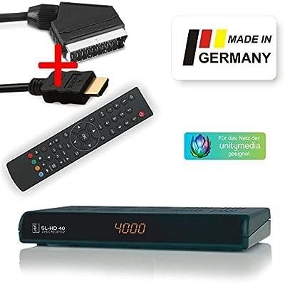 Receptor de HDTV digital por cable SL HD 40, Negro, con euroconector y HDMI cable
