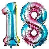 MOOKLIN ROAM XXL 18 Ans Anniversaire Ballons gonflables, 40' Chiffre Feuille Ballon Grand Hélium Fête Ballons Happy Birthday Ballons pour Mariage Fête 1st et 8th Enfant d'anniversaire Décoration