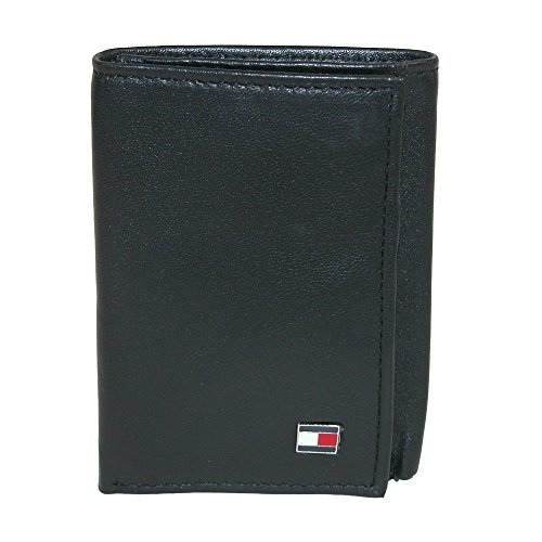 Tommy Hilfiger Men's Genuine Leather Oxford Slim Trifold Wallet (Black) (Tommy Hilfiger Geldbörse Herren Slim)