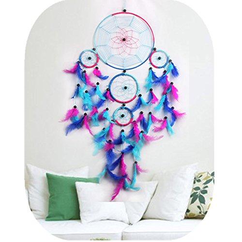 Acchiappasogni colorato a mano arcobaleno grande blu rosa e viola feather dream catchers ornamento