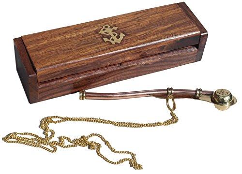Bosuns Call/boatswains Whistle in einer Geschenkbox aus Holz